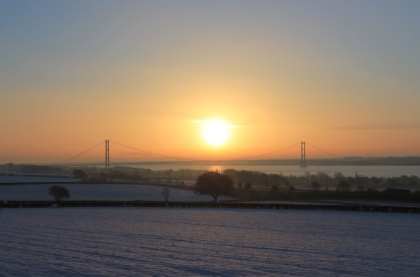 Humber Bridge, East Riding of Yorkshire, Sunrise, Bridge
