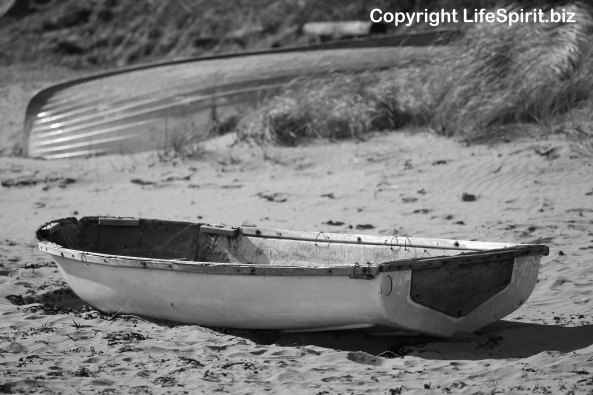 Mark Conway, Life Spirit. Boat, Wales, Trefor Beach, Black and White