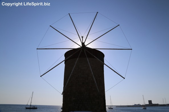 Rhodes Town, Windmill, Greece, Harbour, Seascape, Photography, Mark Conway, Life Spirit
